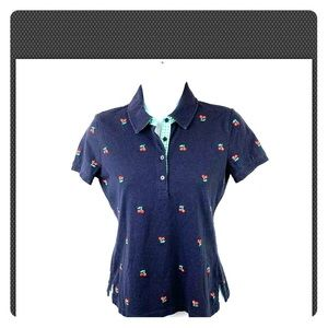 Talbots Size P Navy Blue Polo with Cherries